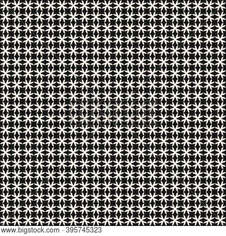 Vector Geometric Seamless Pattern With Crosses, Small Grid, Lattice, Net, Ornamental Mesh. Monochrom