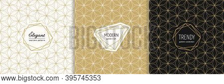 Vector Golden Geometric Seamless Patterns With Modern Minimal Labels. Elegant Gold Textures Set With