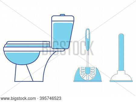 Toilet Icon. Restroom. Wc, Bathroom In Blue Color. Toilet Brush And Plunger. Brush And Plunger In Bl