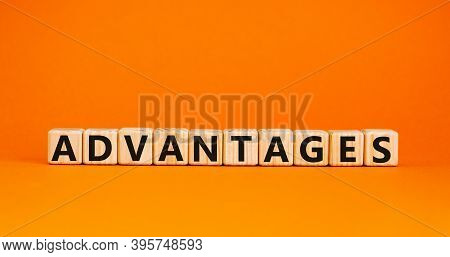 Concept Word 'advantages' On Wooden Cubes On A Beautiful Orange Background. Business Concept, Copy S