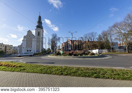Trzcianka, Wielkopolskie / Poland - November, 20, 2020: The Church And The Main Intersection In The