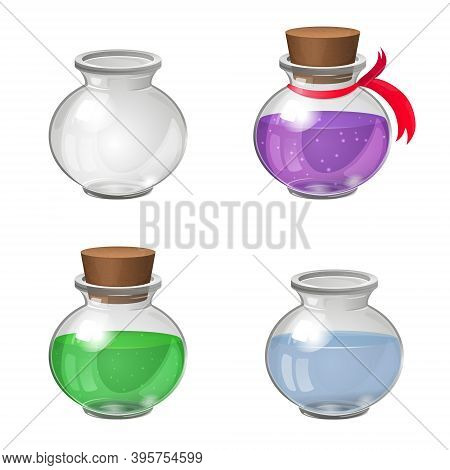 Set Of Glass Bottles. Empty Transparent Glass Jar. Glass Pot With Water. Bottles With Green And Purp