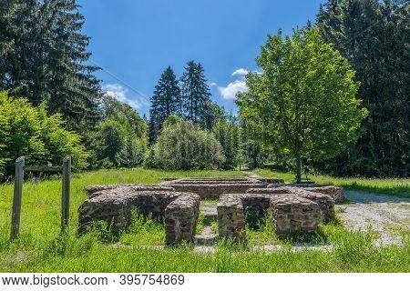The Foundation Walls Of The Former Roman Fort Feldberg, Hesse, Germany