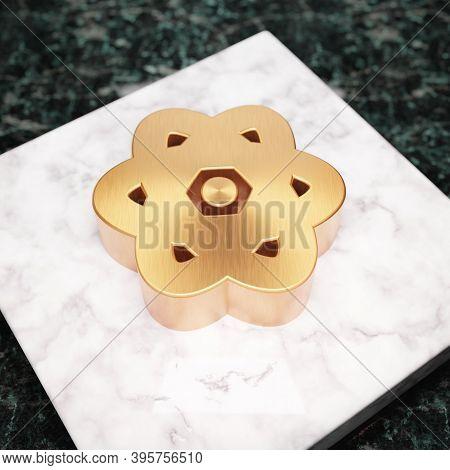 Atom Icon. Bronze Atom Symbol On White Marble Podium. Icon For Website, Social Media, Presentation,