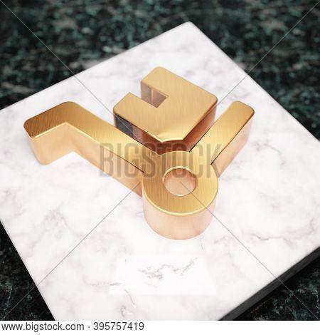 Dolly Icon. Bronze Dolly Symbol On White Marble Podium. Icon For Website, Social Media, Presentation