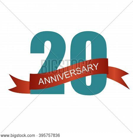 Twenty 20 Years Anniversary Label Sign For Your Date. Ill