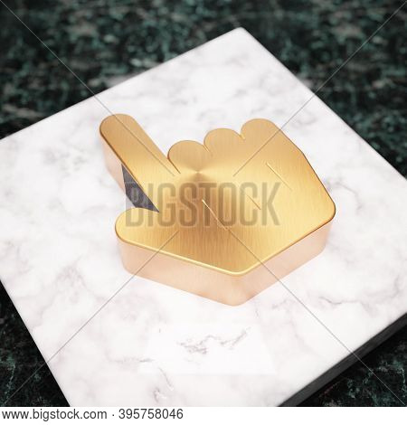 Hand Pointer Icon. Bronze Hand Pointer Symbol On White Marble Podium. Icon For Website, Social Media