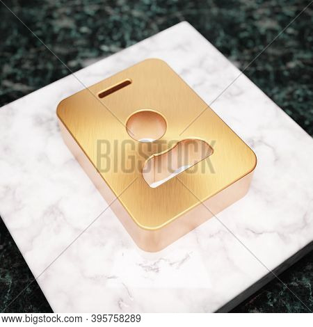 Id Badge Icon. Bronze Id Badge Symbol On White Marble Podium. Icon For Website, Social Media, Presen