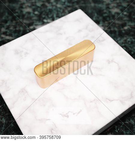 Minus Icon. Bronze Minus Symbol On White Marble Podium. Icon For Website, Social Media, Presentation