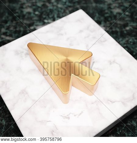 Mouse Pointer Icon. Bronze Mouse Pointer Symbol On White Marble Podium. Icon For Website, Social Med