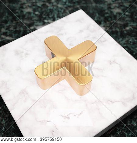 Plus Icon. Bronze Plus Symbol On White Marble Podium. Icon For Website, Social Media, Presentation,