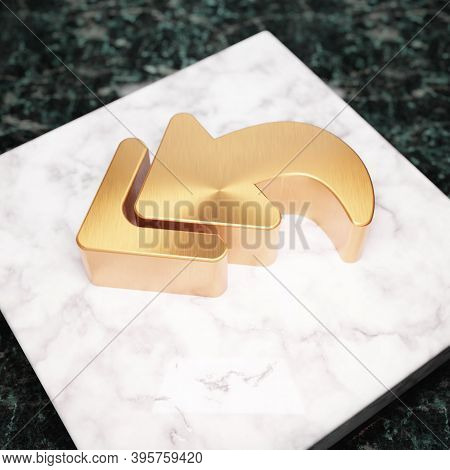 Reply All Icon. Bronze Reply All Symbol On White Marble Podium. Icon For Website, Social Media, Pres