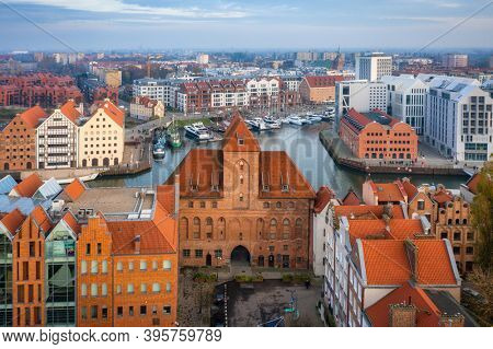 Amazing cityscape of Gdansk over Motlawa river at sunset, Poland