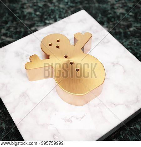 Snowman Icon. Bronze Snowman Symbol On White Marble Podium. Icon For Website, Social Media, Presenta