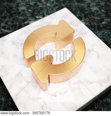 Sync Icon. Bronze Sync Symbol On White Marble Podium. Icon For Website, Social Media, Presentation,