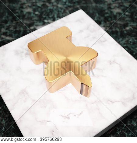 Thumbtack Icon. Bronze Thumbtack Symbol On White Marble Podium. Icon For Website, Social Media, Pres