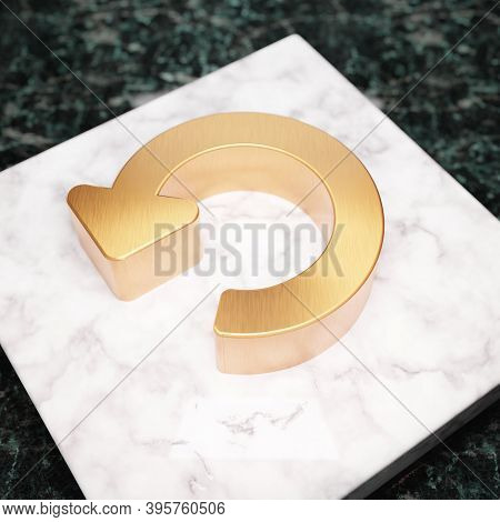 Undo Icon. Bronze Undo Symbol On White Marble Podium. Icon For Website, Social Media, Presentation,