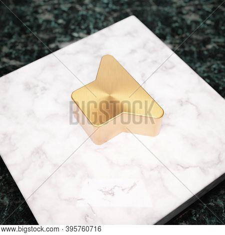 Volume Off Icon. Bronze Volume Off Symbol On White Marble Podium. Icon For Website, Social Media, Pr