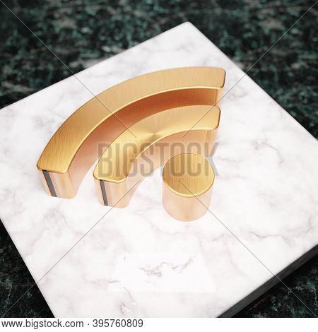 Wi-fi Icon. Bronze Wi-fi Symbol On White Marble Podium. Icon For Website, Social Media, Presentation