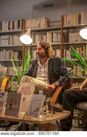 Belgrade, Serbia - June 10, 2017: French Writer & Tv Presenter Frederic Beigbeder Holding A Conferen