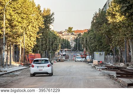 Belgrade, Serbia - August 28, 2020: Car Parked On Cara Dusana Street In Belgrade, Unpaved During A C