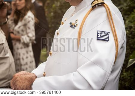 Belgrade, Serbia - July 12, 2019: Close Up On The Formal White Uniform Of The Greek Hellenic Army (e