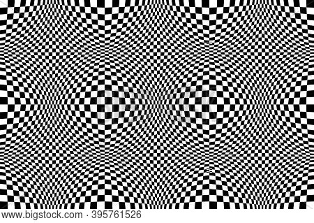 Optical Illusion Checkered Vector Abstract Seamless Background, Black And White Pattern, Chess Board