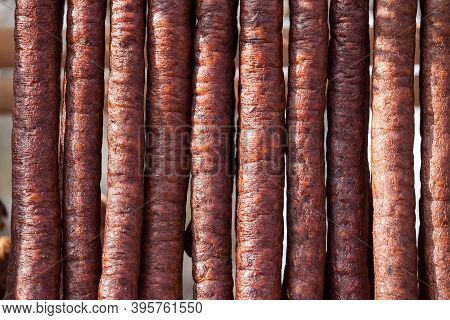 Serbian Kulen Kobasica Sausage, Handmade, Hanging And Drying In The Coutryside Of Serbia. Kulen Is A