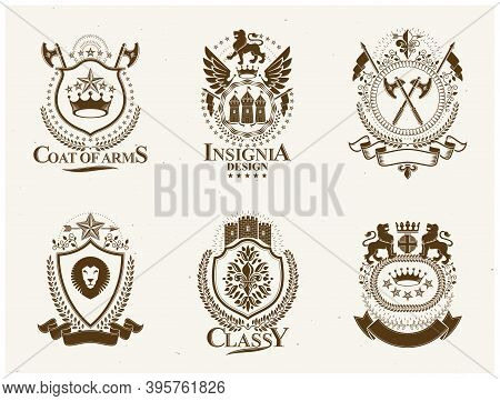 Heraldic Coat Of Arms Decorative Emblems Isolated Vector Illustrations. Vintage Design Elements Coll