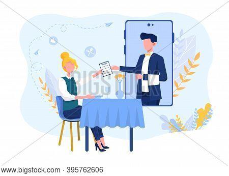 Online Waiter Service. Abstract Concept Of Restaurant Waiter Management Using Modern Techologies. Cu