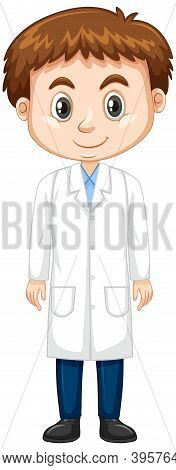 Cute Boy In Lab Gown On White Background