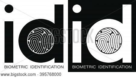 Id Fingerprint Icon For Mobile Identification Apps. Biometric Identification Of Human Data. Unique P