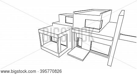 House Building Sketch Architecture 3d Wireframe Illustration, Modern Architectural Perspective Line.