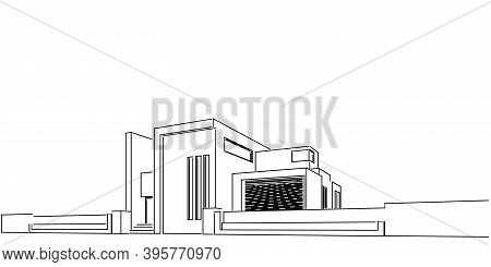 House Building Sketch Architecture 3D Wireframe Illustration, Modern Architectural Perspective Line