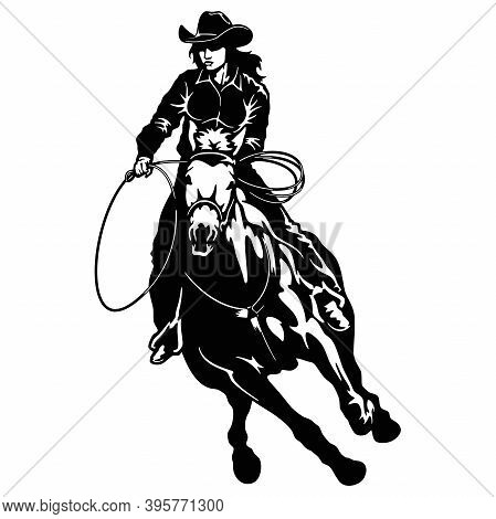 Rodeo Cowgirl Riding A Horse, Retro Style Poster.