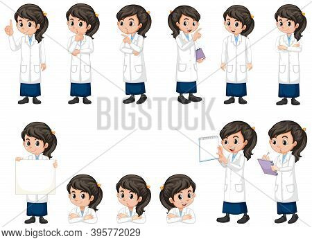 Girl In Science Gown Doing Different Poses On White Background