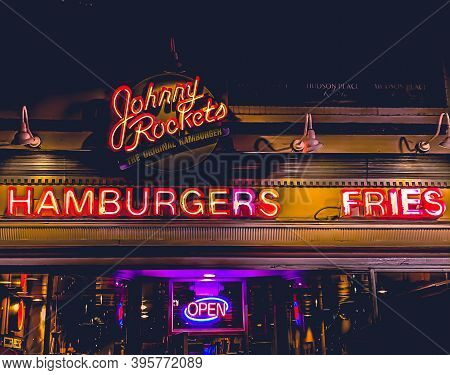 11/21/2020: The Johnny Rockets Logo And Banner With An Outer Glow Effect That Draws A Lot Attention