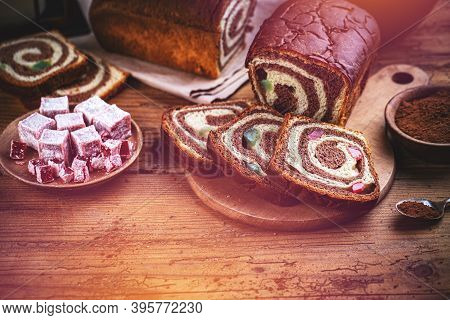 Close Up Of Slices Of Homemade Traditional Romanian Sweet Bread Named Cozonac