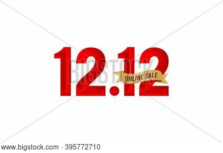 12.12 Sale, 12.12 Online Sale, End Of Year Sale, Gradient Red With Golden Ribbon Isolated, Online Sh
