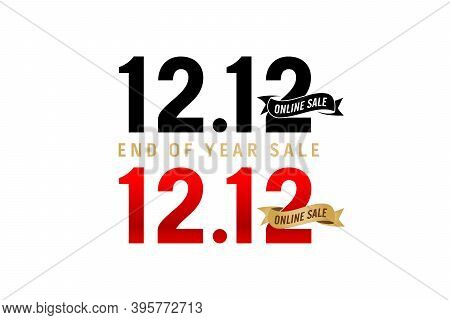 12.12 Sale, 12.12 Online Sale, End Of Year Sale, Golden Ribbon Black And Red Color Isolated Backgrou