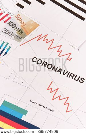 Currencies Euro With Downward Graphs Representing Financial Crisis Caused By Coronavirus. Covid-19.