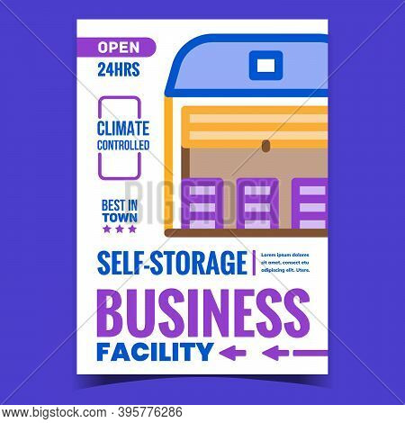 Self-storage Facility Business Promo Poster Vector. Climate Controlled Warehouse Building, Storage B
