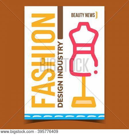 Fashion Design Industry Promotion Banner Vector. Dummy Dressmaker Equipment, Beauty Industry Adverti