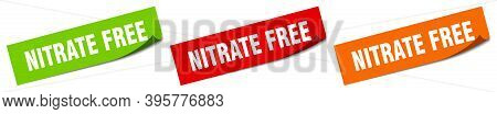 Nitrate Free Sticker. Nitrate Free Square Isolated Sign. Nitrate Free Label
