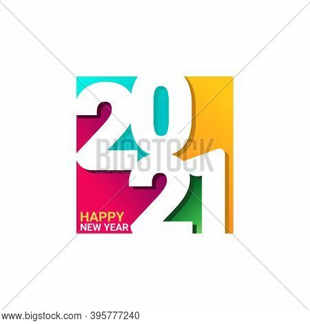 New Year 2021. Happy New Year 2021 Vector. Number 2021 In The Modern Square Concept. 2021 Text. Numb