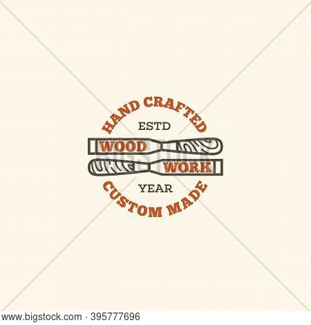 Logo Design Template With Two Chisels For Wood Shop, Carpentry, Woodworkers, Wood Working Industry.