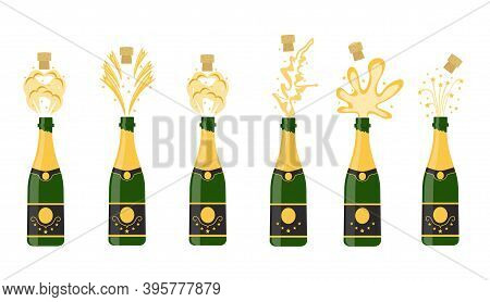Several Bottles Of Champagne Being Opened, Vector Illustration. Open Bottle. A Set Of Several Champa