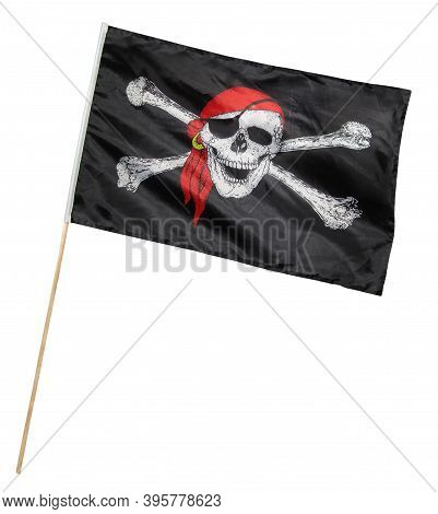 There Is A Pirate Flag. Jolly Roger. White Background. Isolated.