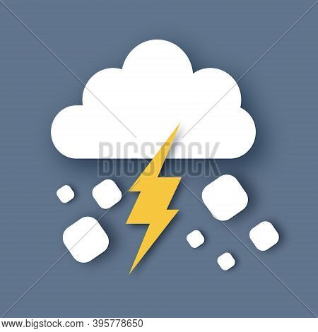 Hail Storm. Rain Clouds And Lightening Bolt. Paper Cut Weather. Storm Time.