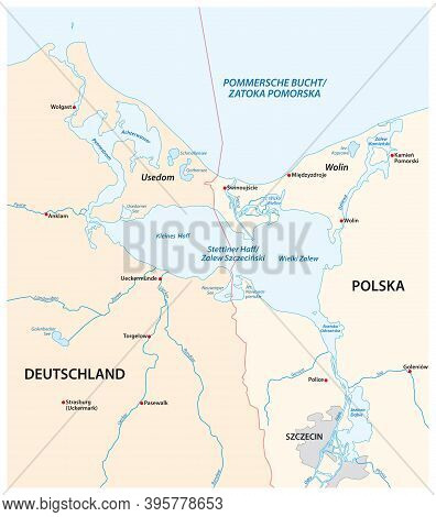 Vector Map Of The Szczecin Lagoon In The Estuary Of The Oder River In The Baltic Sea